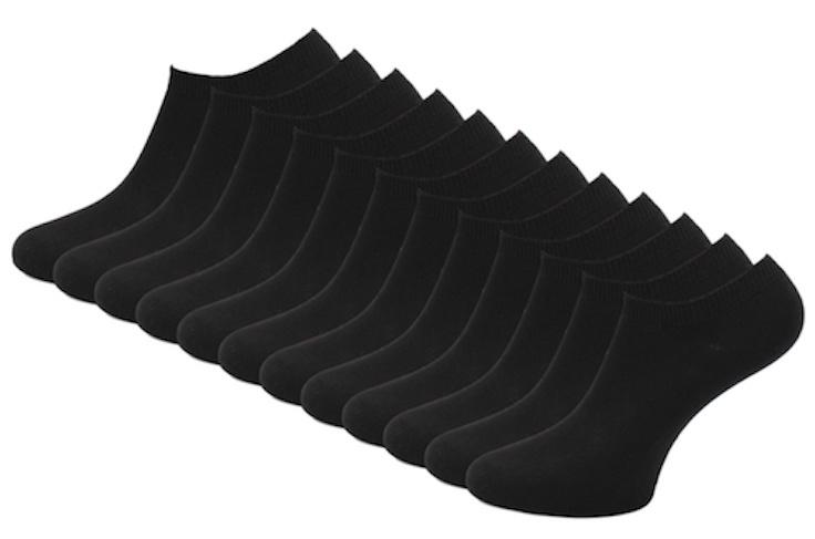 12 paar Bonanza sneakersokken - Basic - Platte Naad - Zwart