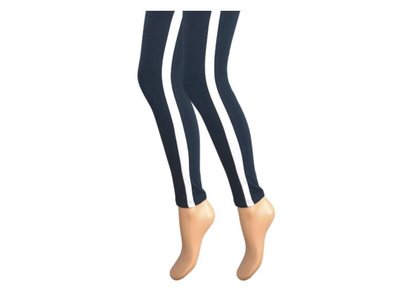 Dames legging - Katoen - Witte streep - Marine