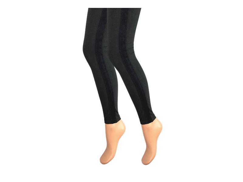 Dames legging - Katoen - Fluweel streep - Zwart