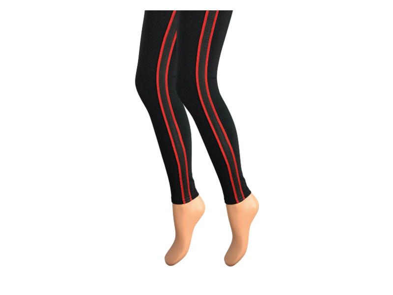 Dames legging - Katoen - Gestreept - Zwart-Rood