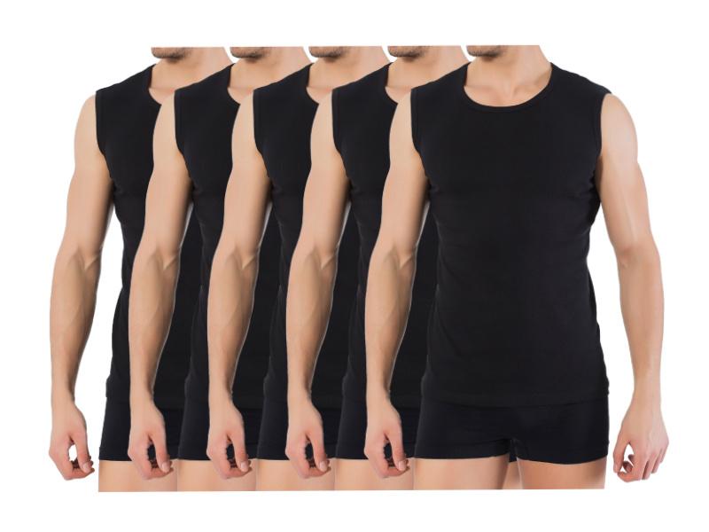 5 stuks Bonanza A-shirt - ronde hals - mouwloos - zwart