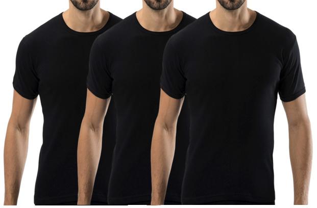 3 stuks Bonanza Basic T-shirt - O-neck - 100% katoen - Zwart