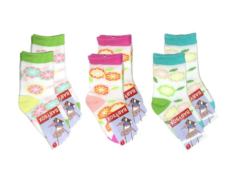 6 paar Meisjes Babysokken - Multicolor - Bloemen