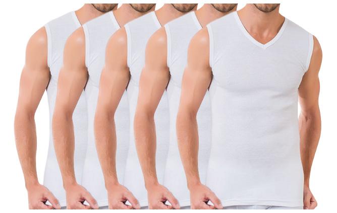 5 stuks Bonanza A-shirt - V-hals - mouwloos - wit