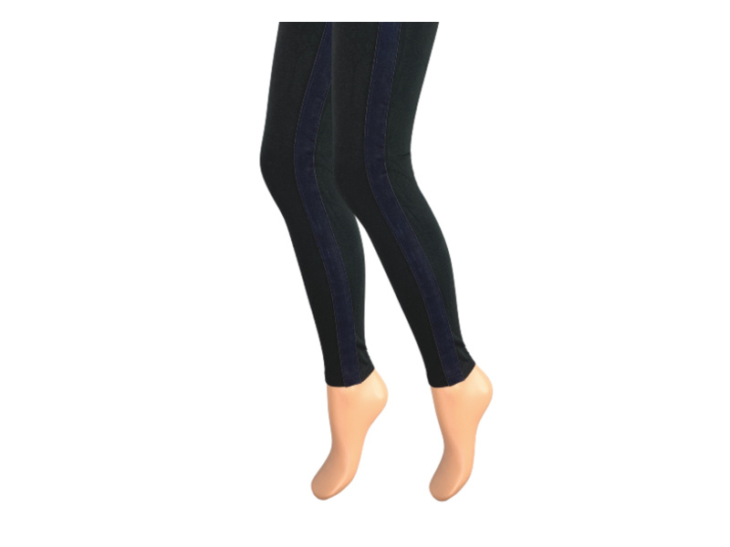 Dames legging - Katoen - Fluweel streep - Marine