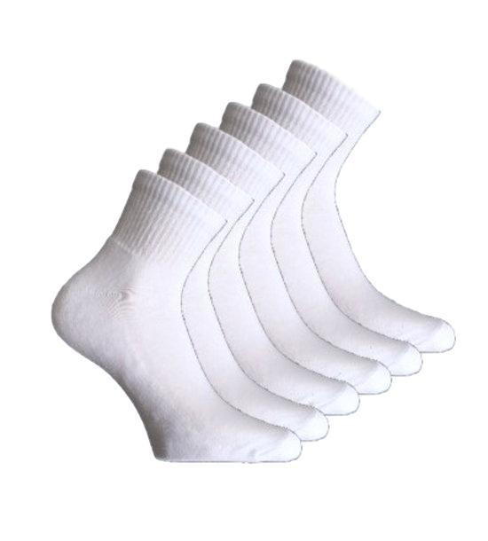 6 paar Bonanza badstof quarter sneakersokken - wit