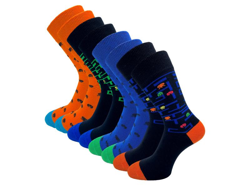 8 paar SQOTTON - Naadloze sokken - Retro Game