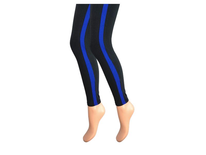 Dames legging - Katoen - Blauwe streep - Zwart