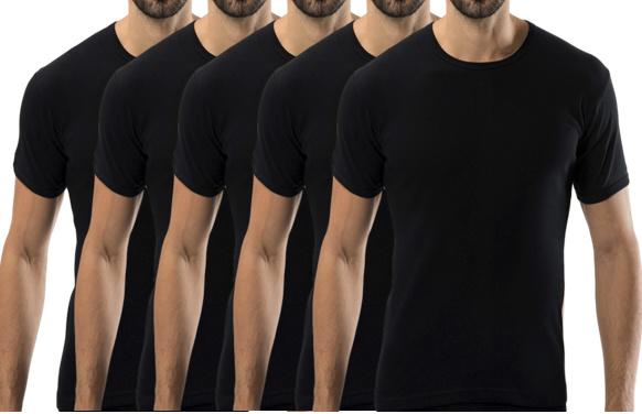 5 stuks Bonanza Basic T-shirt - O-neck - 100% katoen - Zwart
