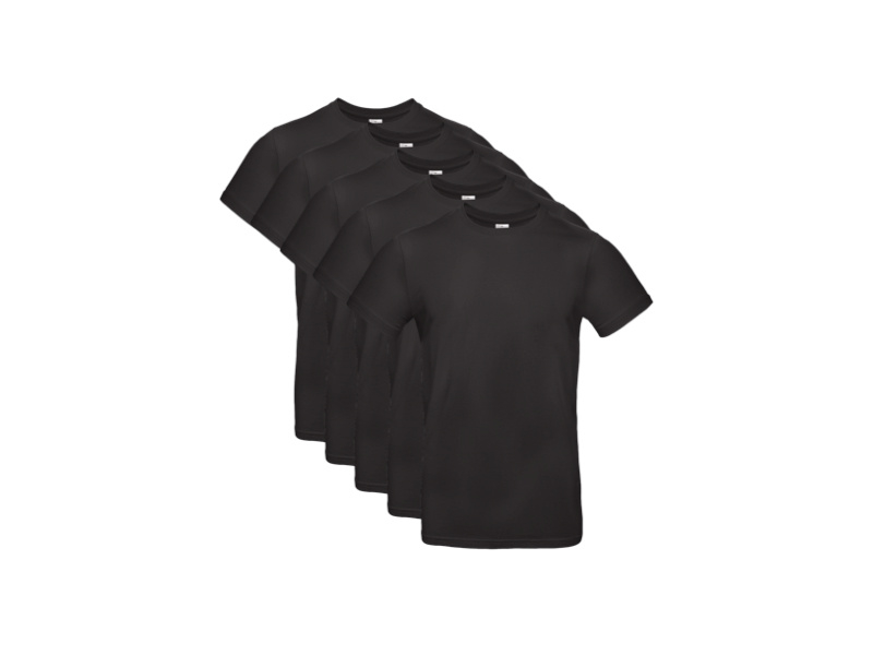 5 stuks Basic T-shirts Regular - 100% Katoen - Zwart