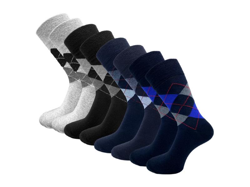8 paar Herensokken - Bonanza Style - Ruit - Grijs-Blauw-Zwart