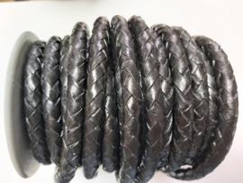 Gevlochten leer zwart 8 mm