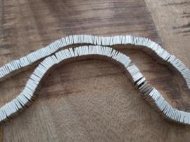 vierkant Hematiet 8 x 8 mm  zilver