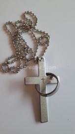 Ketting kruis met ring zilver