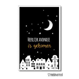 Heerlijk avondje is gekomen    A4-poster zwart-brons