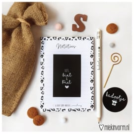 Schoenkadootje || Notitieblok A6 + potlood + mini-kaartje