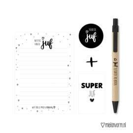Kadootje voor de Juf || Notitieblok A6 + pen + mini-kaart
