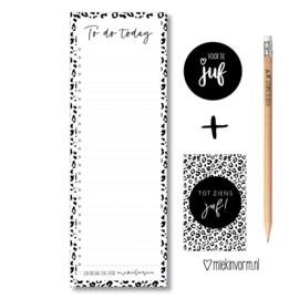 Kadootje voor de Juf || 1/2 A4 Planblok + potlood + mini-kaartje