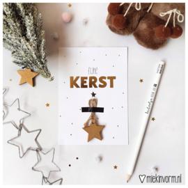Fijne Kerst + Kerst geluksster || Ansichtkaart met goudfolie INCL. envelop