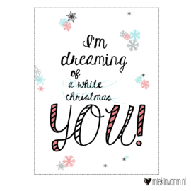 I'm dreaming of a white christmas YOU! roze-blauw  || Ansichtkaart  OUDE collectie