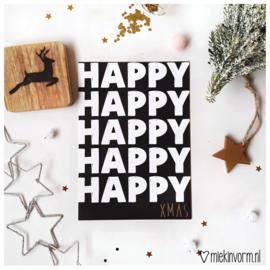 Happy Happy Happy Happy Happy Xmas || Ansichtkaart met goudfolie