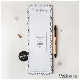 Kadootje voor de Meester || 1/2 A4 Planblok + pen + mini-kaartje