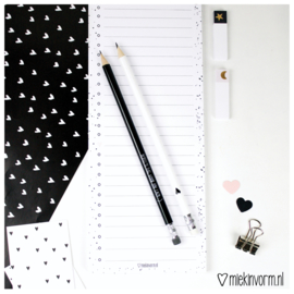 Set van 2 potloden || zwart/wit/hout