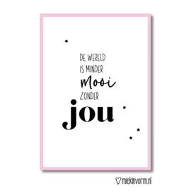 De wereld is minder mooi zonder jou || Dubbele ansichtkaart met envelop