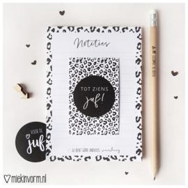 Kadootje voor de Juf || Notitieblok A6 + potlood + mini-kaart