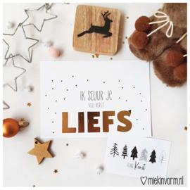 Ik stuur je veel kerstliefs || Ansichtkaart met goudfolie