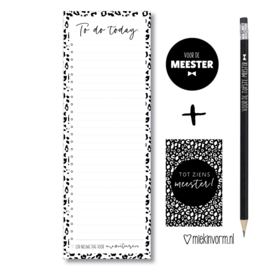 Kadootje voor de Meester    1/2 A4 Planblok + potlood + mini-kaartje