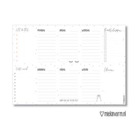 Weekplanner A4 || zwart-wit