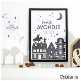 Heerlijk avondje is gekomen || A4 poster zwart-wit