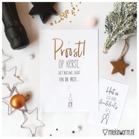 Proost! Op kerst, het nieuwe jaar en de rest! || Ansichtkaart met goudfolie