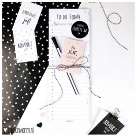 Kadootje voor de Juf || 1/2 A4 Planblok + pen + mini-kaartje