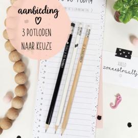 AANBIEDING || 3 potloden naar keuze