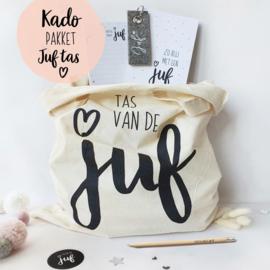 Kado-pakket || Juf tas wit + potlood