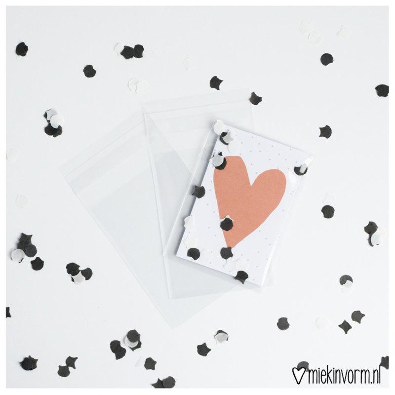 Transparante zakjes met plakstrip || minikaarten || per 5 stuks