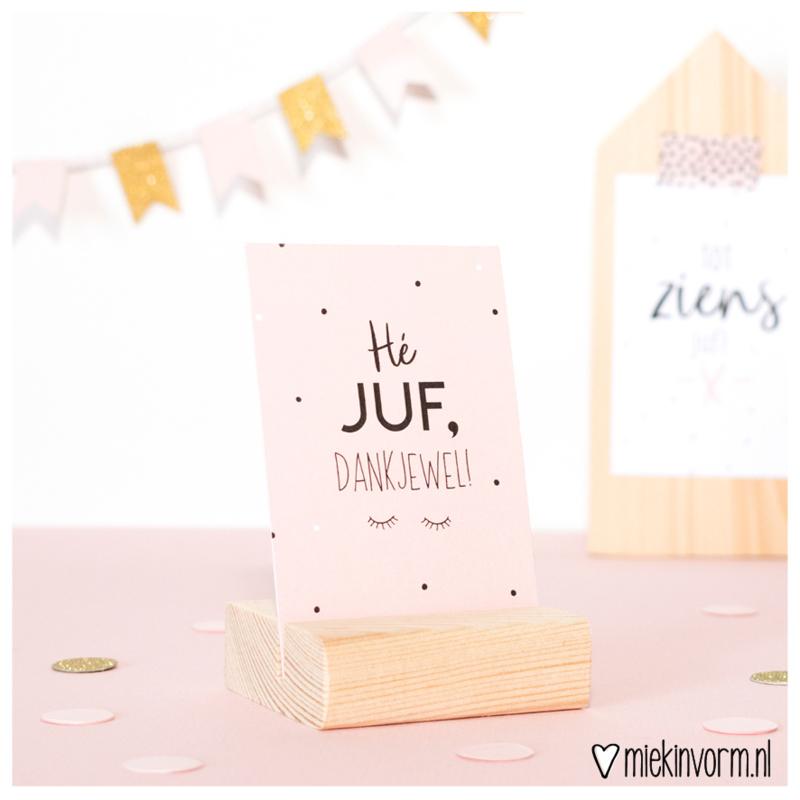 Kadootje voor de Juf || mini-kaartje met kaartenhouder