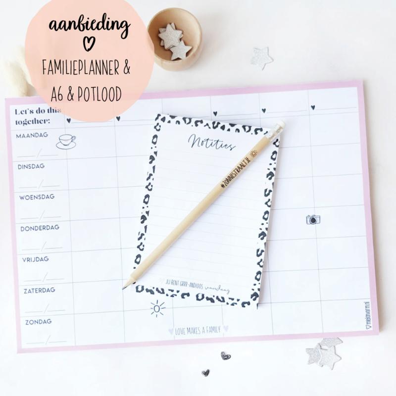 CREATIVE LIFE AANBIEDING    Familieplanner A4 & potlood & A6 notitieblok