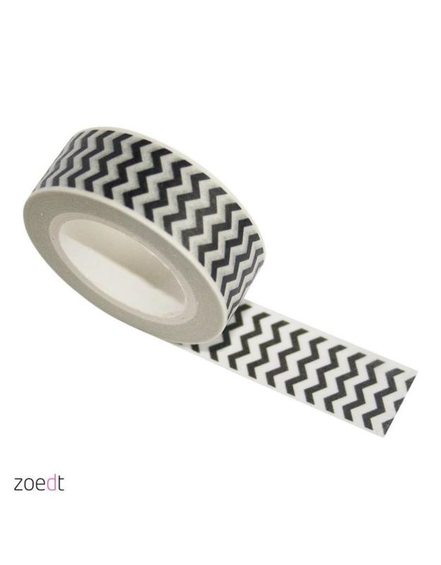 Masking tape || wit met zwarte zigzag