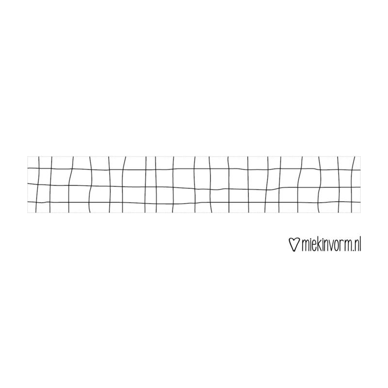 Masking tape || wit met zwart grid