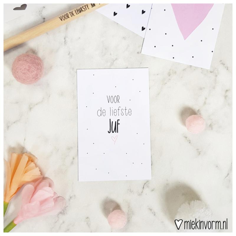 Voor de liefste juf || Mini-kaart