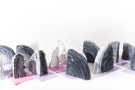 Rainbow Bookend set - Marble Pink - no. 6