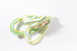 Opaque white & Green with Yellow stripes no. 1 | large + special