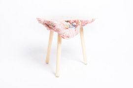 Carved side table  - Soft Ice Cream - Pink & Creamy