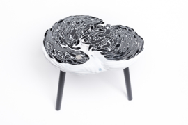 Carved side table  - Black & White