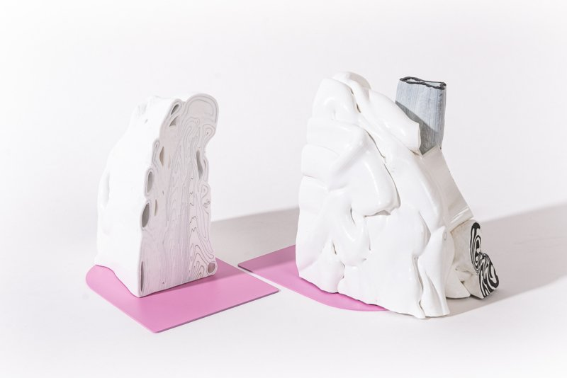 Rainbow Bookend set - Marble Pink - no. 9