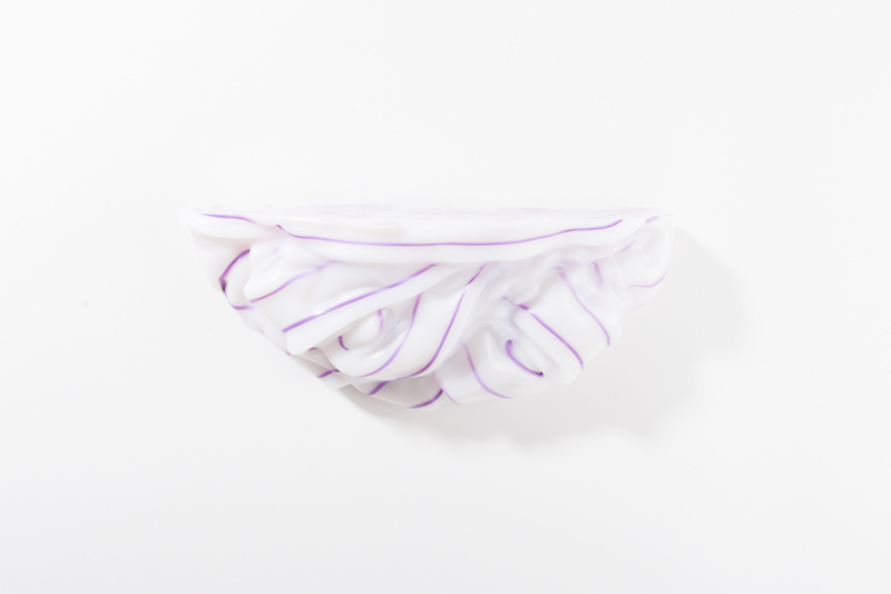 Opaque White & Purple stripe no. 3 | large + special