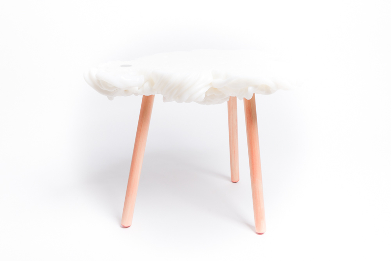 Carved side table  - Soft Ice Cream - White